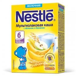 Каша молочная, Нестле 220 г мультизлаковая с яблоком бананом и бифидобактериями с 6 мес